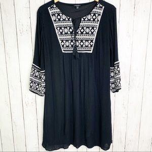{a.n.a.} Embroidered Peasant Boho Swing Dress